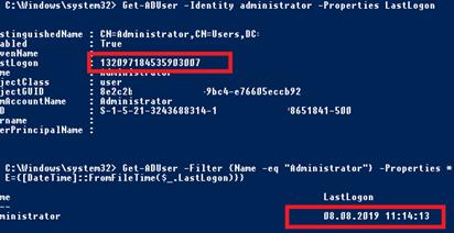 powershell get-aduser получить время последнего входа пользователя в домен