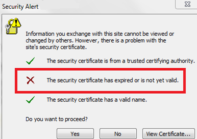 предупреждение в outlook The security certificate has expired or is not yet valid . истек сертификат exchange