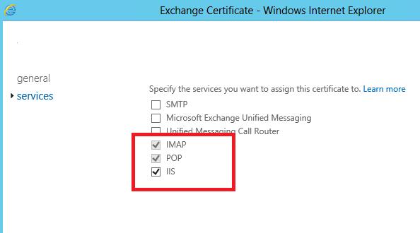 привязать ssl сертификат к службам exchange