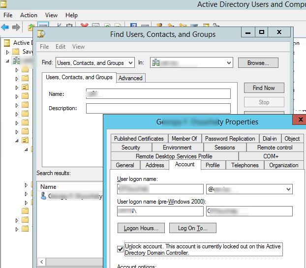 разблокировать пользователя Active Directory через оснастку ADUC