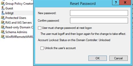 сменить пароль krbtgt