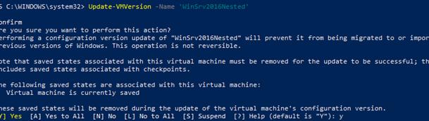 Update-VMVersion обновить версию виртуального железа для виртуальной машины hyper-v