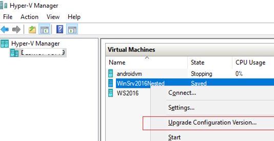 Upgrade Configuration Version обновить VM Hardware в hyper-v