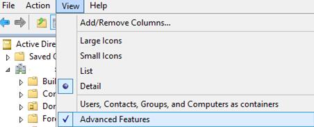 Включить Advanced Features в консоли ADUC