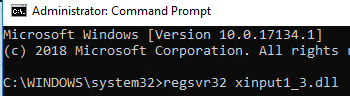 regsvr32 xinput1_3.dll перерегистрация