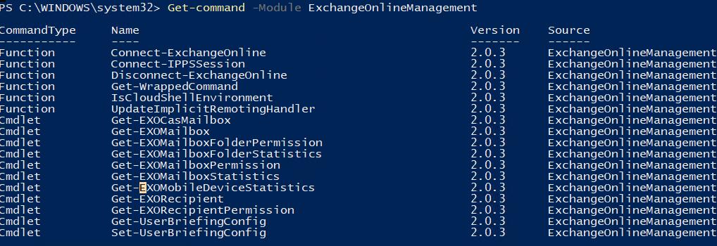 список доступных командлетов в powershell модуле EXO V2