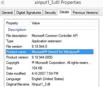 версия directx в файле XINPUT1_3.dll
