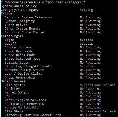 auditpol - настройка политика аудита Windows из командной строки
