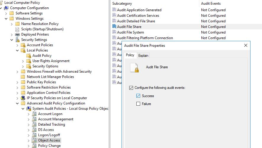 настройить политику аудита доступа к файловой системе