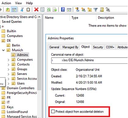 Protect object from accidental deletion - опция в свойствах OU Active Directory