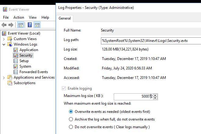увеличить размер журнала security для хранения событий аудита Windows
